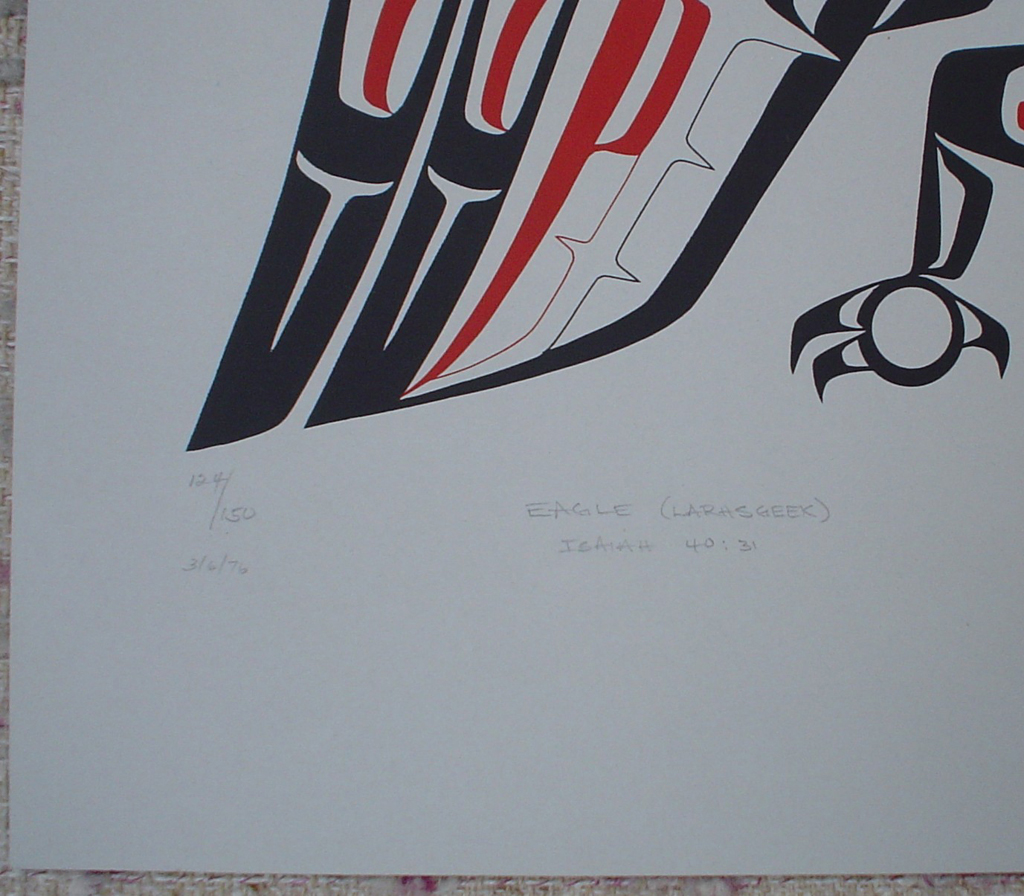 "Eagle (Lahrsgeek) by Roy Henry Vickers, detail to show edition, title and date - original print limited edition serigraph/silkscreen - in lower image area, in pencil: numbered 124/150, titled ""Eagle (Larhsgeek)"", dated 3/6/76, noted ""Isaiah 40:31"" at lower left; signed ""Roy Henry Vickers, Tsimsian Tribe, Kitkatla B.C."" at lower right - sheet size 20x26 inches/51x66 cm (KerrisdaleGallery.com)"