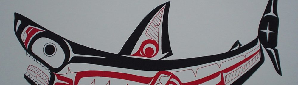 Shark by Roy Henry Vickers, Tsimshian Pacific Northwest Coast First Nations contemporary Native artist - vintage 1976 original print limited edition serigraph/silkscreen - in lower image area, in pencil: numbered 127/195, dated 19/1/76, titled Shark in lower left; signed Roy Henry Vickers, Tsimsian Tribe, Kitkatla B.C. at lower right - sheet size 12x15 inches/30x38 cm (KerrisdaleGallery.com