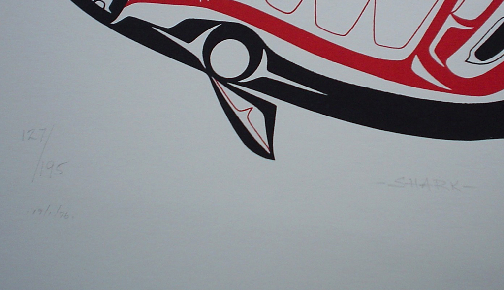 Shark by Roy Henry Vickers, Tsimshian Pacific Northwest Coast First Nations contemporary Native artist , detail to show edition, title and date - vintage 1976 original print limited edition serigraph/silkscreen - in lower image area, in pencil: numbered 127/195, dated 19/1/76, titled Shark in lower left; signed Roy Henry Vickers, Tsimsian Tribe, Kitkatla B.C. at lower right - sheet size 12x15 inches/30x38 cm (KerrisdaleGallery.com)