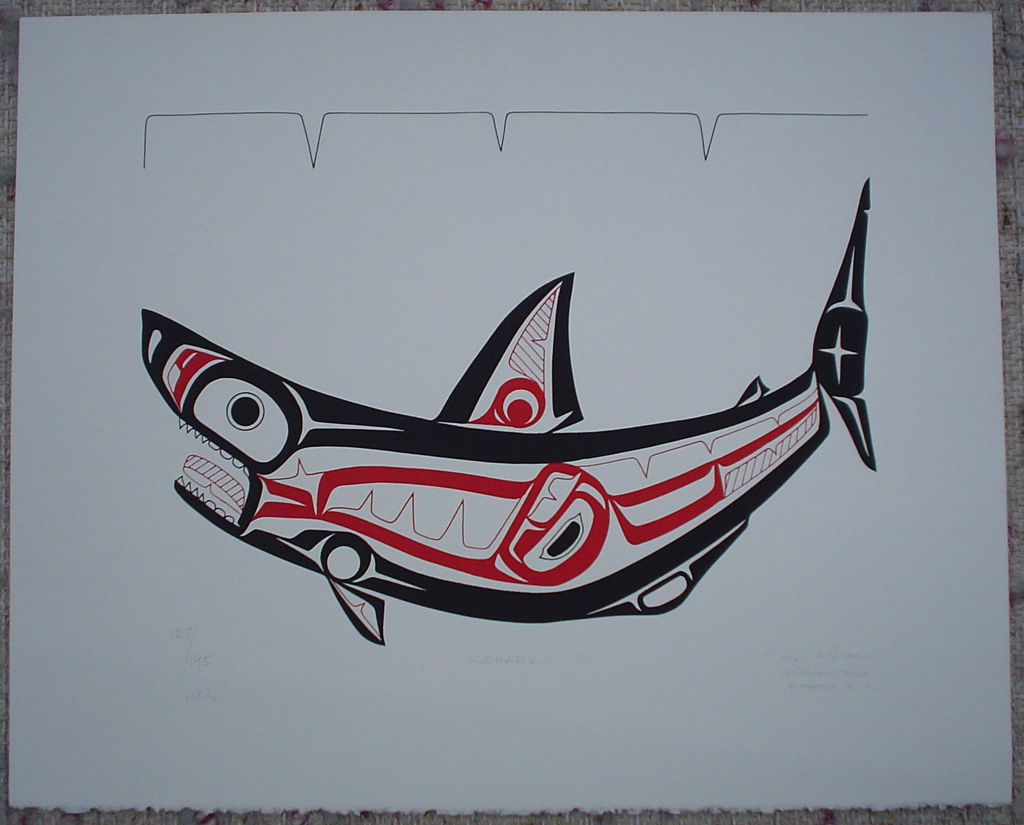 Shark by Roy Henry Vickers, Tsimshian Pacific Northwest Coast First Nations contemporary Native artist , art print shown with full margins - vintage 1976 original print limited edition serigraph/silkscreen - in lower image area, in pencil: numbered 127/195, dated 19/1/76, titled Shark in lower left; signed Roy Henry Vickers, Tsimsian Tribe, Kitkatla B.C. at lower right - sheet size 12x15 inches/30x38 cm (KerrisdaleGallery.com)