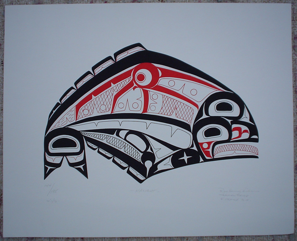"Halibut by Roy Henry Vickers, shown with full margins - original print limited edition serigraph/silkscreen - in lower image area, in pencil: numbered 144/195, dated 19/1/76, titled ""Halibut"" in lower left; signed ""Roy Henry Vickers, Tsimsian Tribe, Kitkatla B.C."" at lower right - sheet size 12x15 inches/30x38 cm (KerrisdaleGallery.com)"