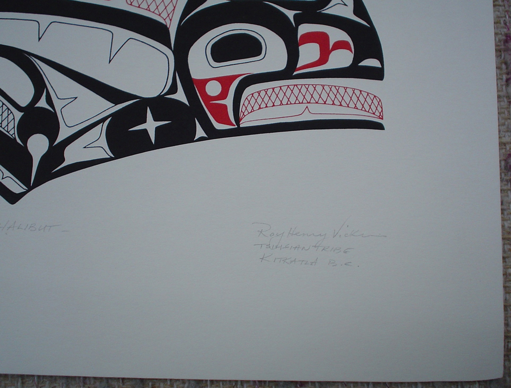 "Halibut by Roy Henry Vickers, detail to show artist signature - original print limited edition serigraph/silkscreen - in lower image area, in pencil: numbered 144/195, dated 19/1/76, titled ""Halibut"" in lower left; signed ""Roy Henry Vickers, Tsimsian Tribe, Kitkatla B.C."" at lower right - sheet size 12x15 inches/30x38 cm (KerrisdaleGallery.com)"