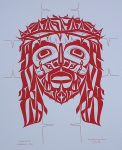 """John 15:13 Hebrews 9:28"" (Jesus Christ in Red) by Roy Henry Vickers - original print serigraph/silkscreen - in lower margin, hand-written in red ink: John 15:13 Hebrews 9:28, signed Roy Henry Vickers, dated 15/6/76 - sheet size 20x16 inches/51x41 cm (KerrisdaleGallery.com)"