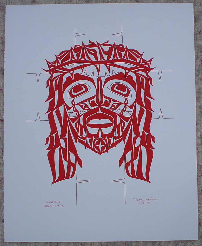 """John 15:13 Hebrews 9:28"" (Jesus Christ in Red) by Roy Henry Vickers, shown with full margins - original print serigraph/silkscreen - in lower margin, hand-written in red ink:  John 15:13 Hebrews 9:28, signed Roy Henry Vickers, dated 15/6/76 - sheet size 20x16 inches/51x41 cm (KerrisdaleGallery.com)"