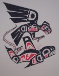 Thunderbird, Lightning Serpent and Killer Whale by Clarence A. Wells, Gitxsan Pacific Northwest Coast First Nations contemporary Native artist - vintage original 1977 limited edition serigraph/silkscreen print - under image in pencil by artist: dated August 1977, titled Thunderbird, Lightning Serpent and Killer Whale, signed Clarence A. Wells, numbered 112/200 - sheet size 24x18 inches/ 61x45.75 cm (KerrisdaleGallery.com)