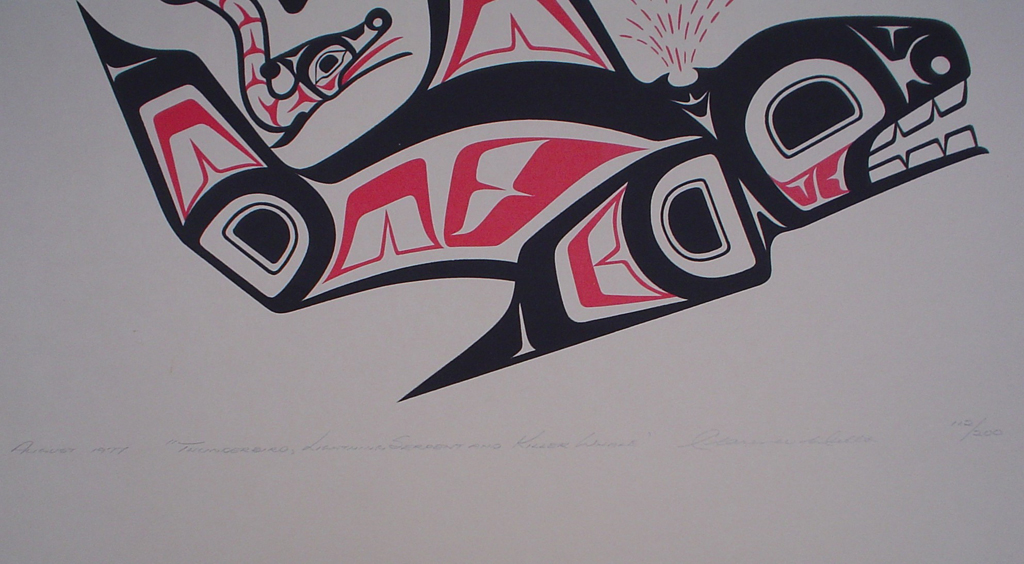 Thunderbird, Lightning Serpent and Killer Whale by Clarence A. Wells, Gitxsan Pacific Northwest Coast First Nations contemporary Native artist, detail to show hand-written artist information - vintage original 1977 limited edition serigraph/silkscreen print - under image in pencil by artist: dated August 1977, titled Thunderbird, Lightning Serpent and Killer Whale, signed Clarence A. Wells, numbered 112/200 - sheet size 24x18 inches/ 61x45.75 cm (KerrisdaleGallery.com)