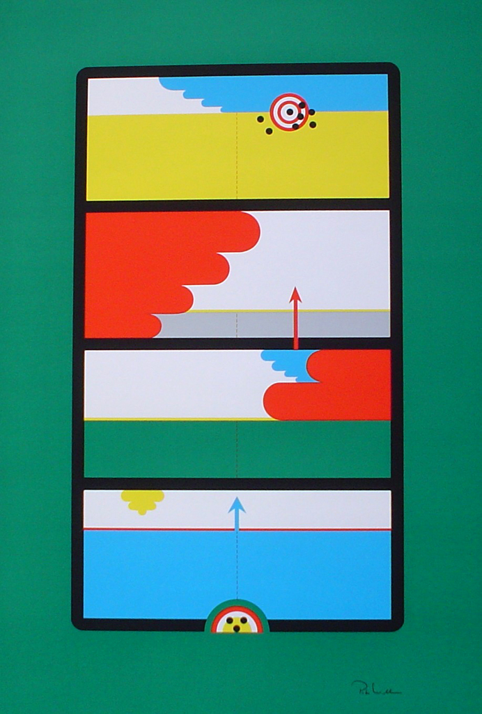 "Target Arrows On Green Abstract (untitled) by Peter Wilhelm - 1975 original serigraph/silkscreen, signed in plate, one of 13 different serigraphs from ""Künstlerkalendar '75"" , an oversized calendar featuring original serigraphs from 13 European artists, © 1975 Verlag F. Bruckmann KG, München (Bruckmann Publishing, Munich)"