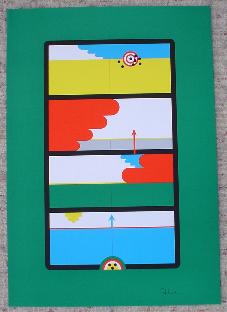 "Target Arrows On Green Abstract (untitled) by Peter Wilhelm, shown with full margins - 1975 original serigraph/silkscreen, signed in plate, one of 13 different serigraphs from ""Künstlerkalendar '75"" , an oversized calendar featuring original serigraphs from 13 European artists, © 1975 Verlag F. Bruckmann KG, München (Bruckmann Publishing, Munich)"
