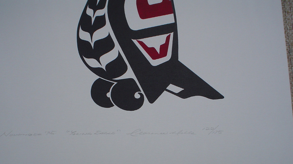 Young Eagle by Clarence A. Wells, Gitxsan Pacific Northwest Coast First Nations contemporary Native artist, detail to show hand-written artist information - vintage original 1975 limited edition serigraph/silkscreen print - under image in pencil by artist: dated November '75, titled Young Eagle, signed Clarence A. Wells, numbered 122/175 - sheet size 20x16 inches/ 51x41 cm (KerrisdaleGallery.com)