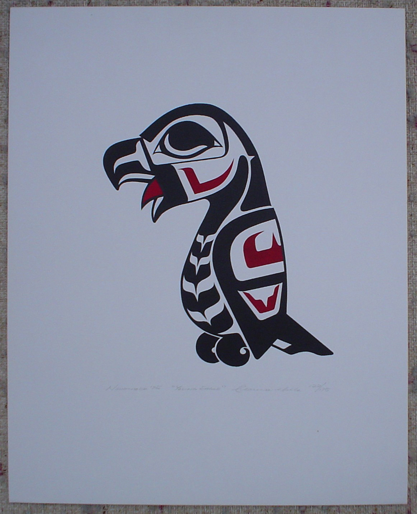 Young Eagle by Clarence A. Wells, Gitxsan Pacific Northwest Coast First Nations contemporary Native artist, art print shown with full margins - vintage original 1975 limited edition serigraph/silkscreen print - under image in pencil by artist: dated November '75, titled Young Eagle, signed Clarence A. Wells, numbered 122/175 - sheet size 20x16 inches/ 51x41 cm (KerrisdaleGallery.com)