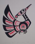Loon by Clarence A. Wells, Gitxsan Pacific Northwest Coast First Nations contemporary Native artist - vintage original 1977 limited edition serigraph/silkscreen print - under image in pencil by artist: dated March '77, titled Loon, signed Clarence A. Wells, numbered 136/180 - sheet size 17x13 inches/ 43x33 cm (KerrisdaleGallery.com)