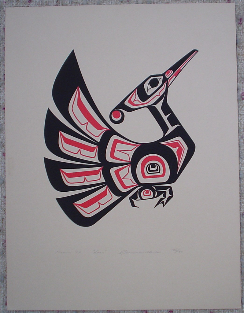 Loon by Clarence A. Wells, Gitxsan Pacific Northwest Coast First Nations contemporary Native artist, art print shown with full margins - vintage original 1977 limited edition serigraph/silkscreen print - under image in pencil by artist: dated March '77, titled Loon, signed Clarence A. Wells, numbered 136/180 - sheet size 17x13 inches/ 43x33 cm (KerrisdaleGallery.com)