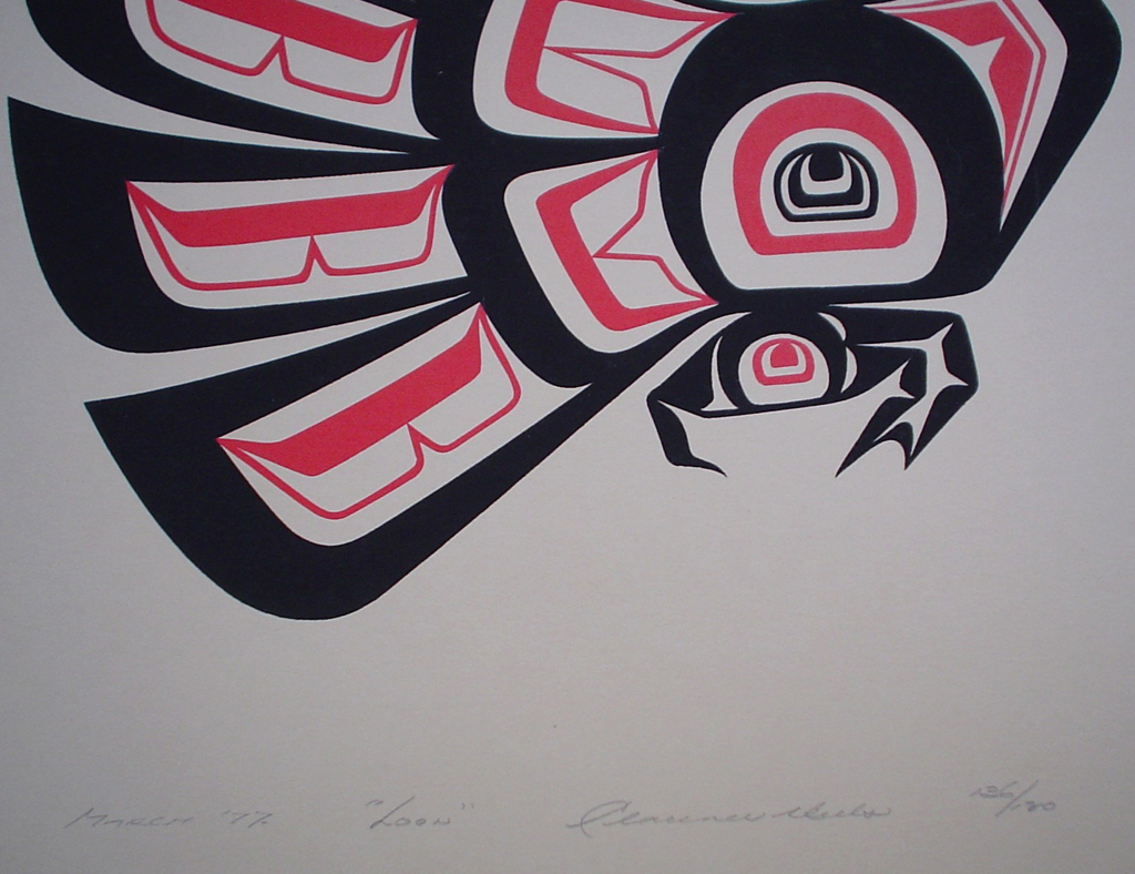 Loon by Clarence A. Wells, Gitxsan Pacific Northwest Coast First Nations contemporary Native artist, detail to show hand-written artist information - vintage original 1977 limited edition serigraph/silkscreen print - under image in pencil by artist: dated March '77, titled Loon, signed Clarence A. Wells, numbered 136/180 - sheet size 17x13 inches/ 43x33 cm (KerrisdaleGallery.com)