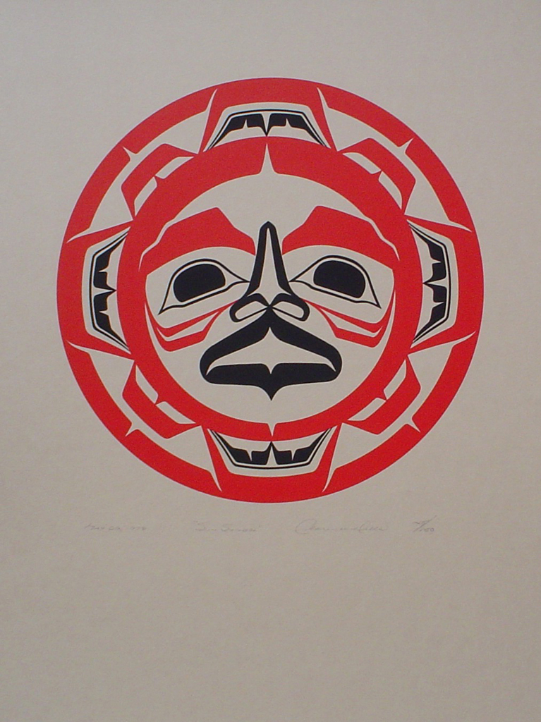 Sun Symbol by Clarence A. Wells, Gitxsan Pacific Northwest Coast First Nations contemporary Native artist - vintage original 1978 limited edition serigraph/silkscreen print - under image in pencil by artist: dated March '78, titled Sun Symbol, signed Clarence A. Wells, numbered 145/150 - sheet size 17x13 inches/ 43x33 cm (KerrisdaleGallery.com)