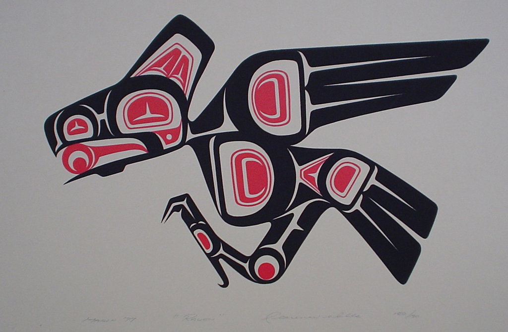 Raven by Clarence A. Wells, Gitxsan Pacific Northwest Coast First Nations contemporary Native artist - vintage original 1977 limited edition serigraph/silkscreen print - under image in pencil by artist: dated March '77, titled Raven, signed Clarence A. Wells, numbered 150/180 - sheet size 13x17 inches/ 33x43 cm (KerrisdaleGallery.com)