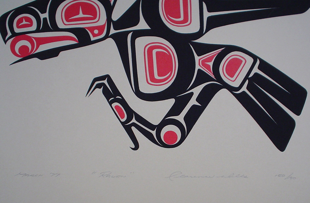 Raven by Clarence A. Wells, Gitxsan Pacific Northwest Coast First Nations contemporary Native artist, detail to show hand-written artist information - vintage original 1977 limited edition serigraph/silkscreen print - under image in pencil by artist: dated March '77, titled Raven, signed Clarence A. Wells, numbered 150/180 - sheet size 13x17 inches/ 33x43 cm (KerrisdaleGallery.com)