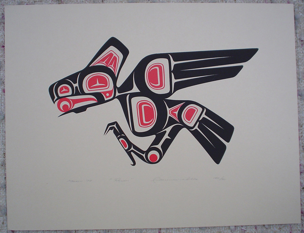 Raven by Clarence A. Wells, Gitxsan Pacific Northwest Coast First Nations contemporary Native artist, art print shown with full margins - vintage original 1977 limited edition serigraph/silkscreen print - under image in pencil by artist: dated March '77, titled Raven, signed Clarence A. Wells, numbered 150/180 - sheet size 13x17 inches/ 33x43 cm (KerrisdaleGallery.com)