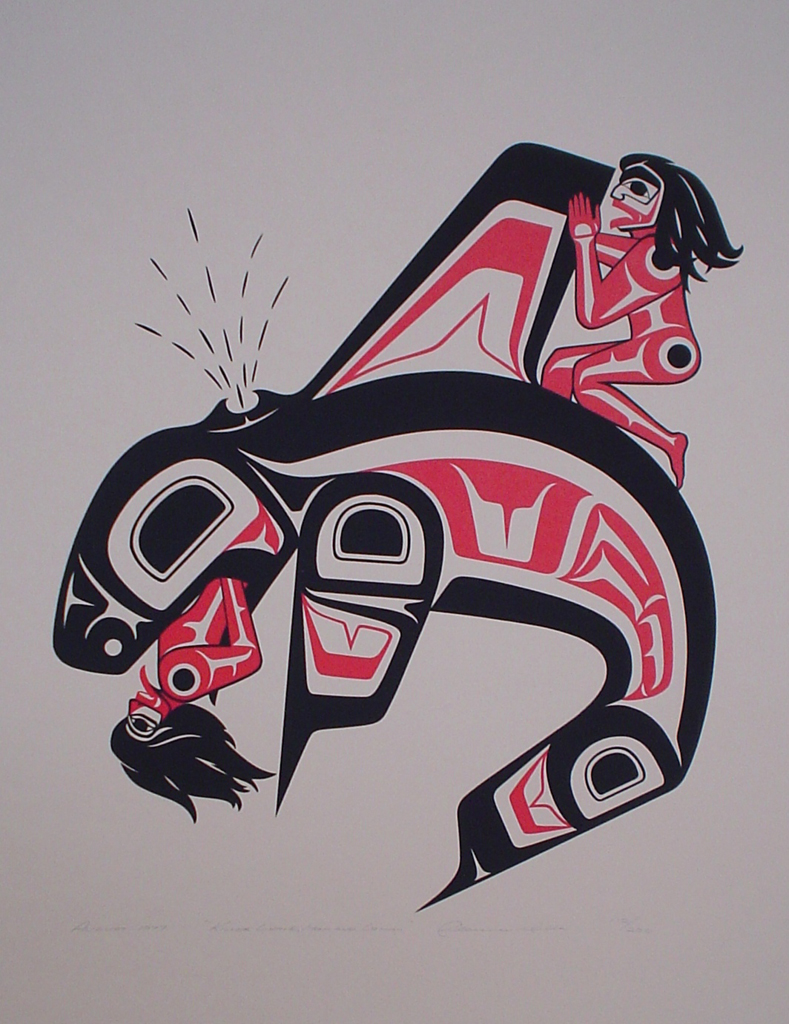 Killer Whale, Man and Woman by Clarence A. Wells, Gitxsan Pacific Northwest Coast First Nations contemporary Native artist - vintage original 1977 limited edition serigraph/silkscreen print - under image in pencil by artist: dated August 1977, titled Killer Whale, Man and Woman, signed Clarence A. Wells, numbered 112/200 - sheet size 24x18 inches/ 61x45.7 cm (KerrisdaleGallery.com)