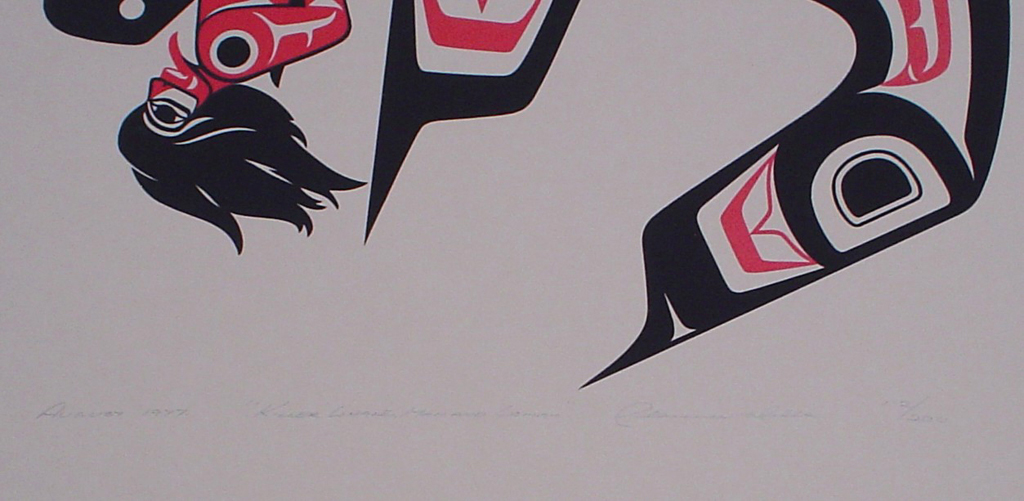 Killer Whale, Man and Woman by Clarence A. Wells, Gitxsan Pacific Northwest Coast First Nations contemporary Native artist, detail to show hand-written artist information - vintage original 1977 limited edition serigraph/silkscreen print - under image in pencil by artist: dated August 1977, titled Killer Whale, Man and Woman, signed Clarence A. Wells, numbered 112/200 - sheet size 24x18 inches/ 61x45.75 cm (KerrisdaleGallery.com)