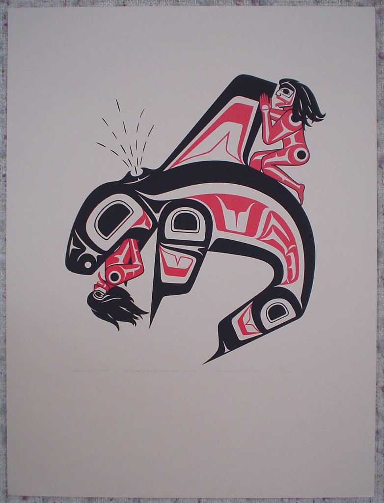 Killer Whale, Man and Woman by Clarence A. Wells, Gitxsan Pacific Northwest Coast First Nations contemporary Native artist, art print shown with full margins - vintage original 1977 limited edition serigraph/silkscreen print - under image in pencil by artist: dated August 1977, titled Killer Whale, Man and Woman, signed Clarence A. Wells, numbered 112/200 - sheet size 24x18 inches/ 61x45.7 cm (KerrisdaleGallery.com)