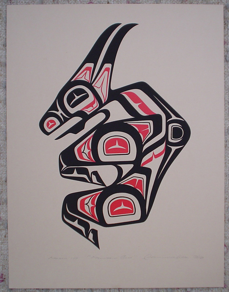 Mountain Goat by Clarence A. Wells, Gitxsan Pacific Northwest Coast First Nations contemporary Native artist, art print shown with full margins - vintage original 1977 limited edition serigraph/silkscreen print - under image in pencil by artist: dated March '77, titled Mountain Goat, signed Clarence A. Wells, numbered 136/180 - sheet size 17x13 inches/ 43x33 cm (KerrisdaleGallery.com)