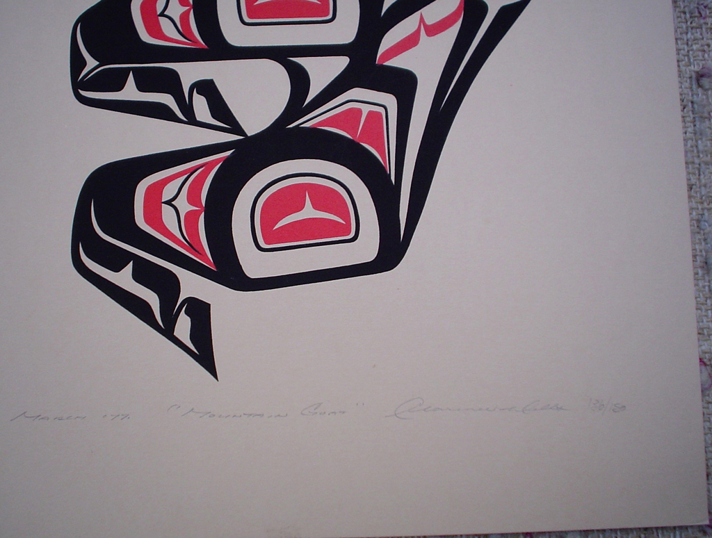Mountain Goat by Clarence A. Wells, Gitxsan Pacific Northwest Coast First Nations contemporary Native artist, detail to show hand-written artist information - vintage original 1977 limited edition serigraph/silkscreen print - under image in pencil by artist: dated March 1977, titled Mountain Goat, signed Clarence A. Wells, numbered 136/180 - sheet size 17x13 inches/ 43x33 cm (KerrisdaleGallery.com)