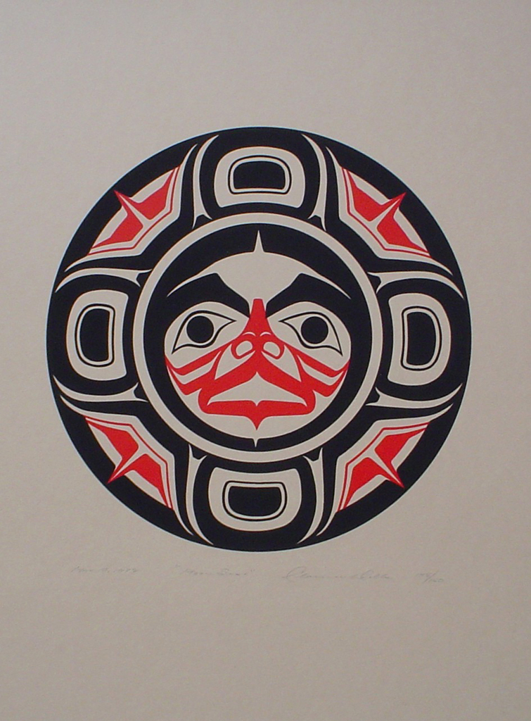 Moon Spirit by Clarence A. Wells, Gitxsan Pacific Northwest Coast First Nations contemporary Native artist - vintage original 1978 limited edition serigraph/silkscreen print - under image in pencil by artist: dated March '78, titled Moon Spirit, signed Clarence A. Wells, numbered 145/150 - sheet size 17x13 inches/ 43x33 cm (KerrisdaleGallery.com)