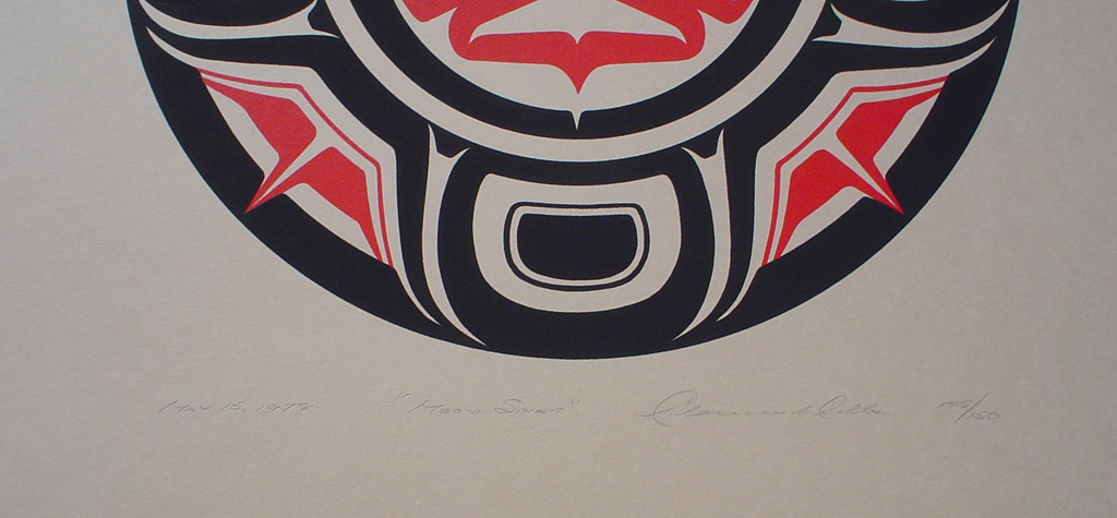 Moon Spirit by Clarence A. Wells, Gitxsan Pacific Northwest Coast First Nations contemporary Native artist, detail to show hand-written artist information - vintage original 1978 limited edition serigraph/silkscreen print - under image in pencil by artist: dated March '78, titled Moon Spirit, signed Clarence A. Wells, numbered 145/150 - sheet size 17x13 inches/ 43x33 cm (KerrisdaleGallery.com)