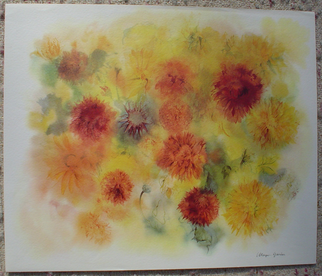 """Golden Chrysanthemums"" by Klaus Meyer Gasters, shown with full margins - vintage 1970's/1980's offset lithograph reproduction watercolour collectible fine art print (size approx. 15 x 18.5 inches/ ca. 38 x 47 cm) - KerrisdaleGallery.com"