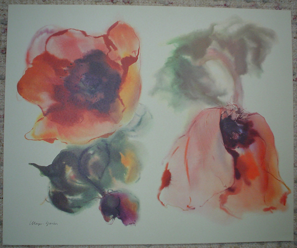 """Red Poppies"", in German: ""Mohn"" by Klaus Meyer Gasters, shown with full margins - vintage 1970's/1980's offset lithograph reproduction watercolour collectible fine art print (size approx. 15 x 18.5 inches/ ca. 38 x 47 cm) - KerrisdaleGallery.com"