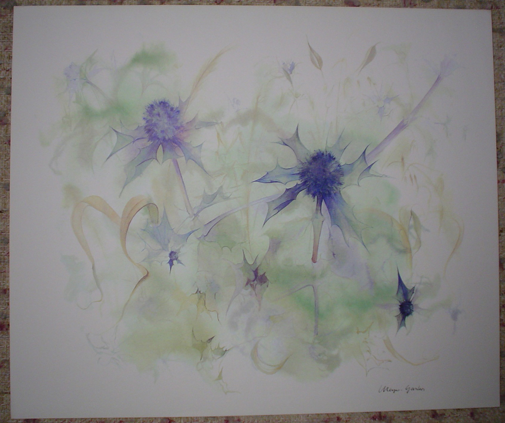 """Blue Star Thistles"" by Klaus Meyer Gasters, shown with full margins - vintage 1970's/1980's offset lithograph reproduction watercolour collectible fine art print (size approx. 15 x 18.5 inches/ ca. 38 x 47 cm) - KerrisdaleGallery.com"
