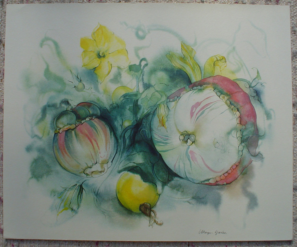 """""""Yellow Squash Flowers"""" by Klaus Meyer Gasters, shown with full margins - vintage 1970's/1980's offset lithograph reproduction watercolour collectible fine art print (size approx. 15 x 18.5 inches/ ca. 38 x 47 cm) - KerrisdaleGallery.com"""