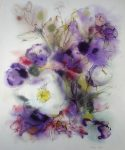"""White Flowers on Purple"" by Klaus Meyer Gasters - vintage 1970's/1980's offset lithograph reproduction watercolour collectible fine art print (size approx. 15 x 18.5 inches/ ca. 38 x 47 cm) - KerrisdaleGallery.com"