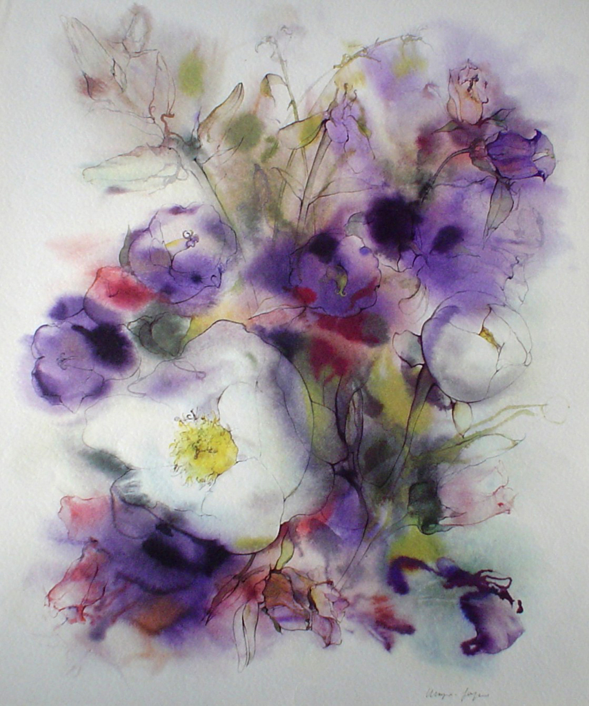"""""""White Flowers on Purple"""" by Klaus Meyer Gasters - vintage 1970's/1980's offset lithograph reproduction watercolour collectible fine art print (size approx. 15 x 18.5 inches/ ca. 38 x 47 cm) - KerrisdaleGallery.com"""