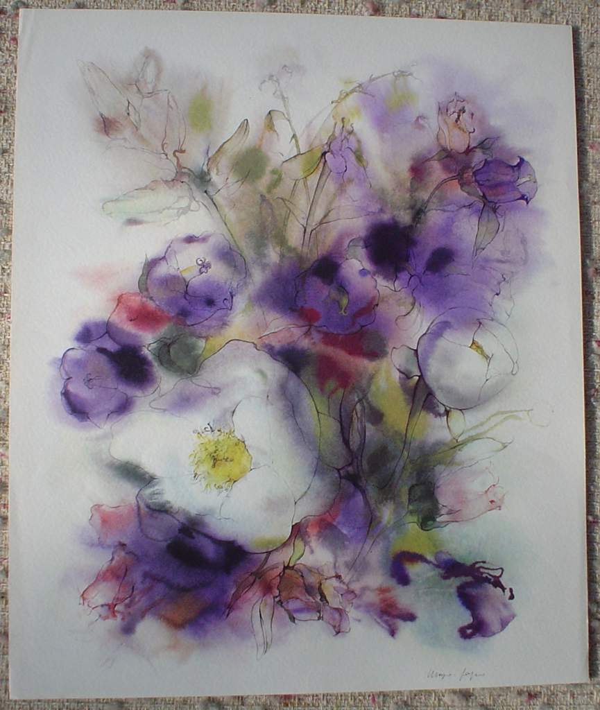 """""""White Flowers on Purple"""" by Klaus Meyer Gasters, shown with full margins - vintage 1970's/1980's offset lithograph reproduction watercolour collectible fine art print (size approx. 15 x 18.5 inches/ ca. 38 x 47 cm) - KerrisdaleGallery.com"""