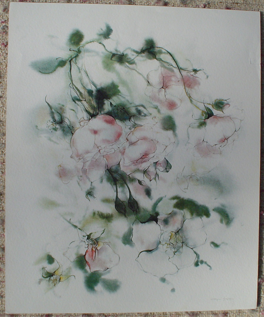 """Pink Roses"" by Klaus Meyer Gasters, showing full margins - vintage 1970's/1980's offset lithograph reproduction watercolour collectible fine art print (size approx. 18.5 x 15 inches/ ca 47 x 38 cm) - KerrisdaleGallery.com"