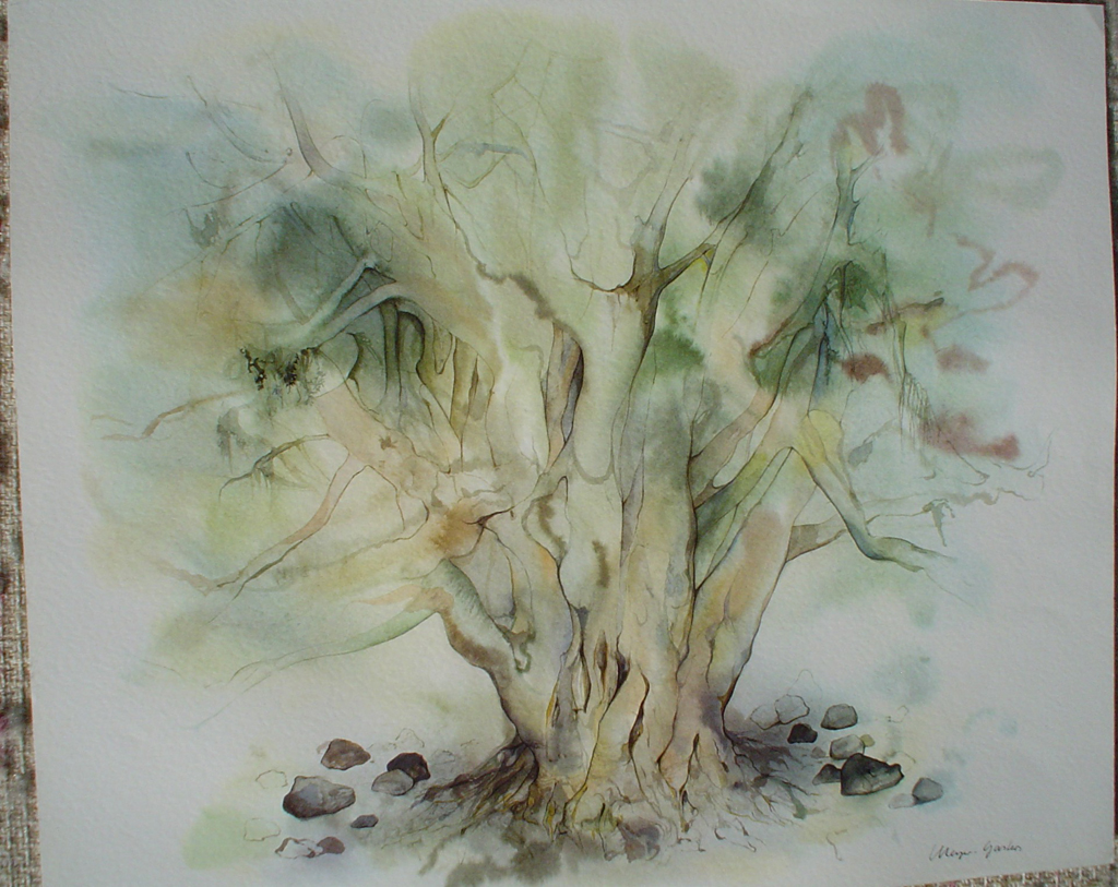 """""""Big Green Tree"""" by Klaus Meyer Gasters, shown with full margins - vintage 1970's/1980's offset lithograph reproduction watercolour collectible fine art print (size approx. 15 x 18.5 inches/ ca 38 x 47 cm) - KerrisdaleGallery.com"""