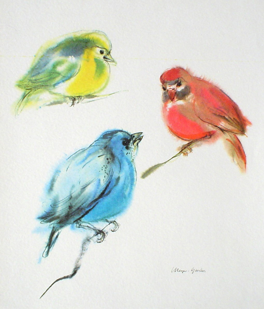 """Three Tanager Birds: Red, Yellow, Blue"" by Klaus Meyer Gasters - vintage 1970's offset lithograph reproduction watercolour collectible art print (size 12.5 x 10.75 inches/31.75 x 27 cm) - KerrisdaleGallery.com"