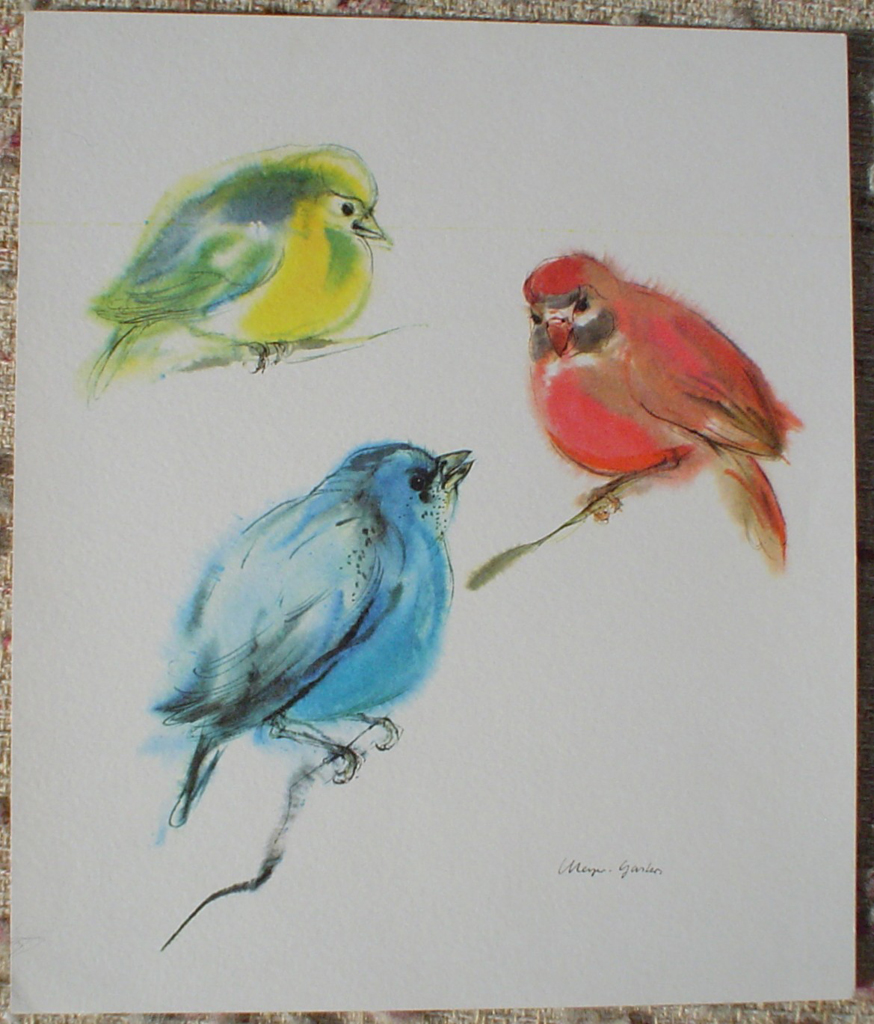 """Three Tanager Birds: Red, Yellow, Blue"" by Klaus Meyer Gasters, shown with full margins - vintage 1970's offset lithograph reproduction watercolour collectible art print (size 12.5 x 10.75 inches/31.75 x 27 cm) - KerrisdaleGallery.com"