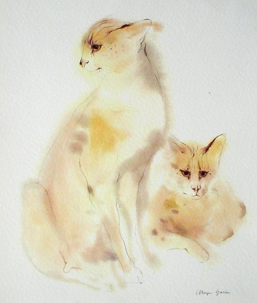 """Two Serval Cats"", in German: ""Servale"" by Klaus Meyer Gasters - vintage 1970's offset lithograph reproduction watercolour collectible art print (size 12.5 x 10.75 inches/31.75 x 27 cm) - KerrisdaleGallery.com"