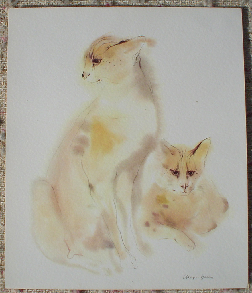 """Two Serval Cats"", in German: ""Servale"" by Klaus Meyer Gasters, shown with full margins - vintage 1970's offset lithograph reproduction watercolour collectible art print (size 12.5 x 10.75 inches/31.75 x 27 cm) - KerrisdaleGallery.com"