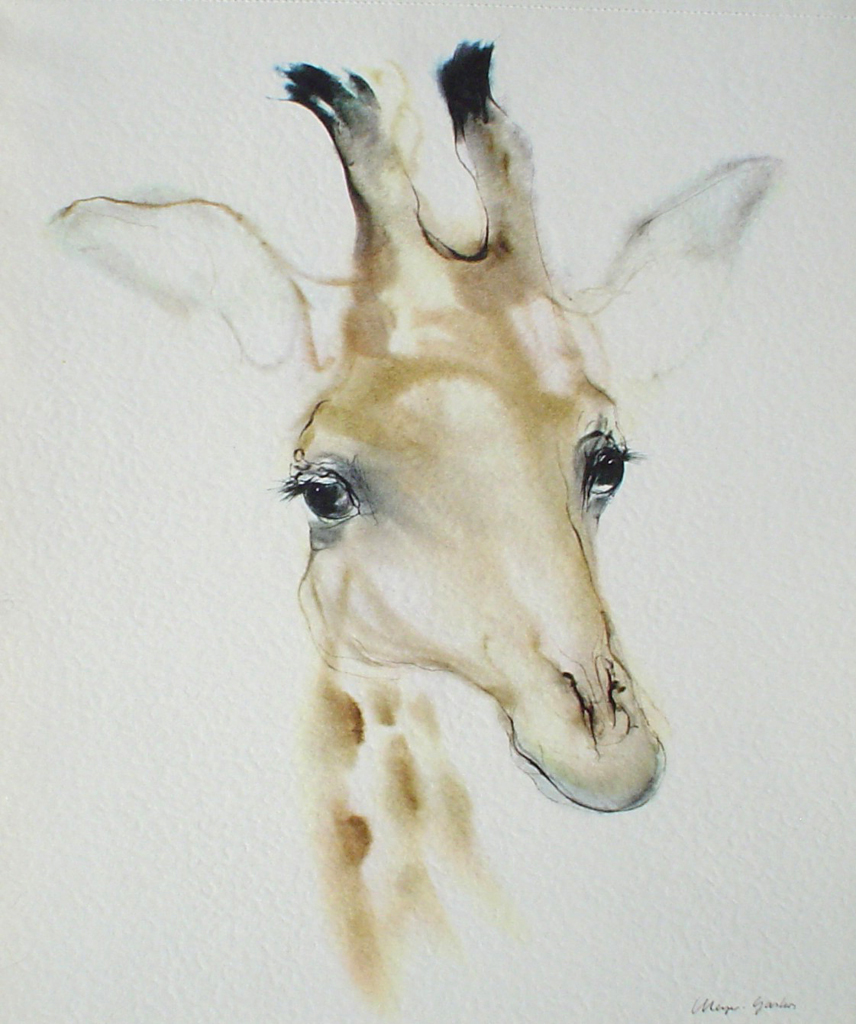 """Giraffe Head"" by Klaus Meyer Gasters - vintage 1977 offset lithograph reproduction watercolour collectible fine art print (size 12.5 x 10.75 inches/31.75 x 27 cm) - KerrisdaleGallery.com"