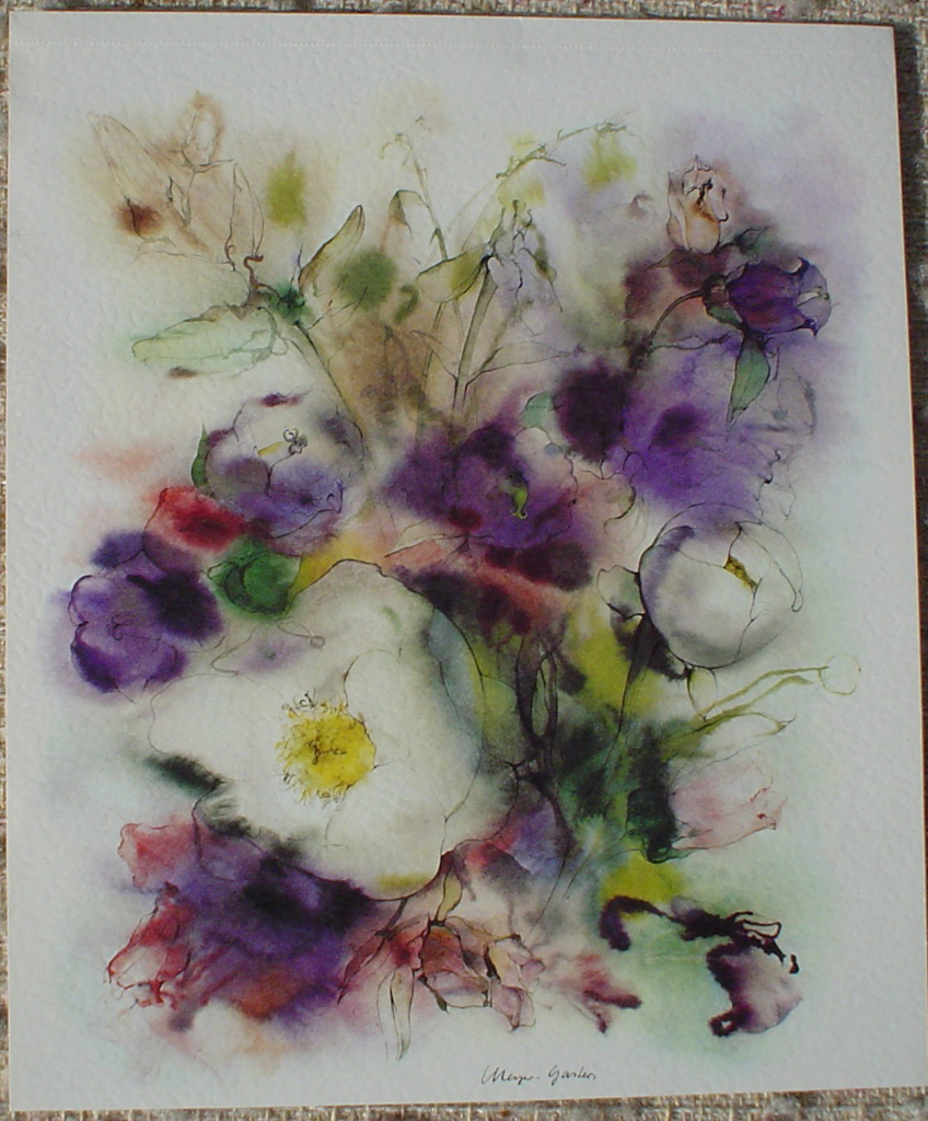 """White Flowers on Purple"" by Klaus Meyer Gasters, shown with full margins - vintage 1977 offset lithograph reproduction watercolour collectible fine art print (size 12.5 x 10.75 inches/31.75 x 27 cm) - KerrisdaleGallery.com"