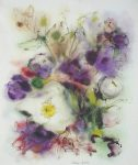"""White Flowers on Purple"" by Klaus Meyer Gasters - vintage 1977 offset lithograph reproduction watercolour collectible fine art print (size 12.5 x 10.75 inches/31.75 x 27 cm) - KerrisdaleGallery.com"