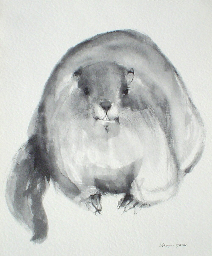 """Beaver"" in German:""Biber"" by Klaus Meyer Gasters - vintage 1977 offset lithograph reproduction watercolour collectible fine art print (size 12.5 x 10.75 inches/31.75 x 27 cm) - KerrisdaleGallery.com"