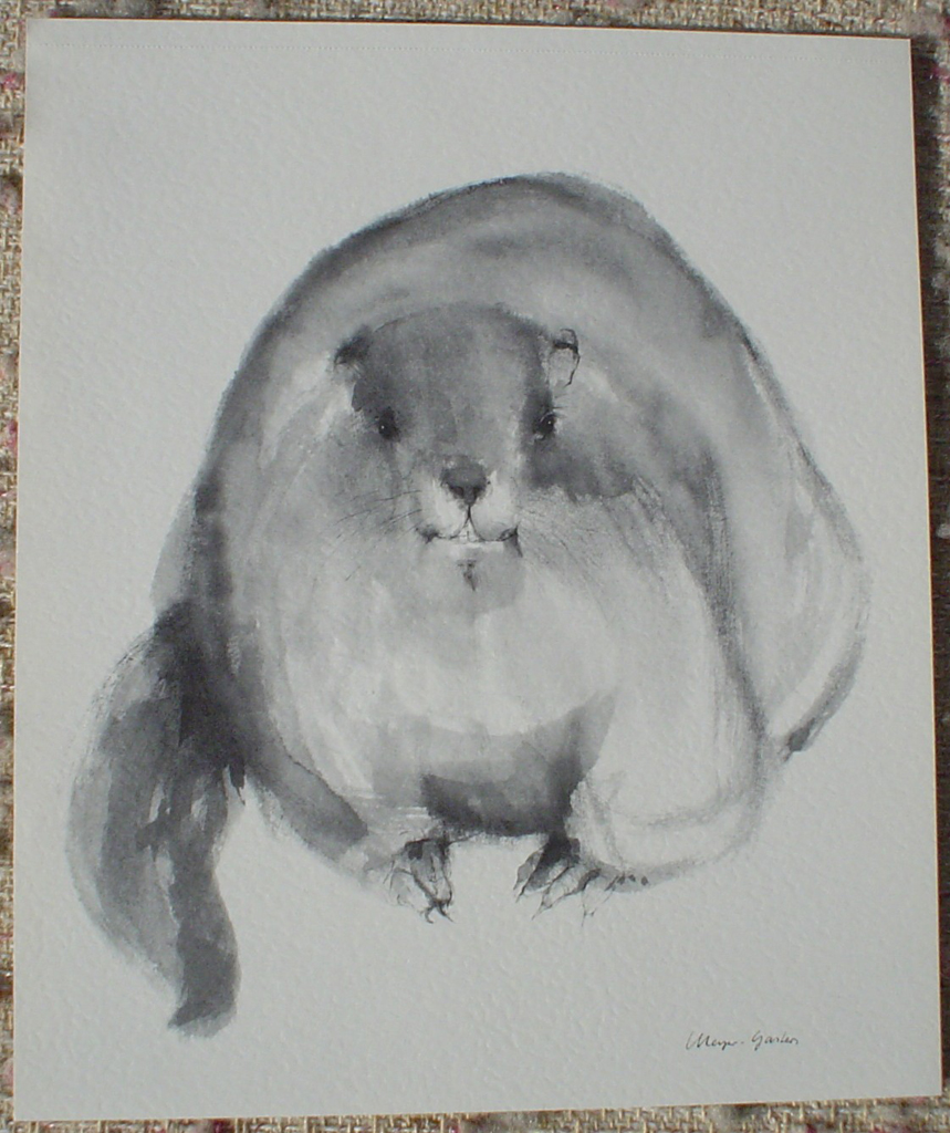 """Beaver"" in German:""Biber"" by Klaus Meyer Gasters, shown with full margins - vintage 1977 offset lithograph reproduction watercolour collectible fine art print (size 12.5 x 10.75 inches/31.75 x 27 cm) - KerrisdaleGallery.com"