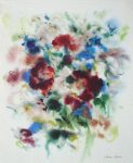 """Red Flowers On Blue"" by Klaus Meyer Gasters - vintage 1977 offset lithograph reproduction watercolour collectible fine art print (size 12.5 x 10.75 inches/31.75 x 27 cm) - KerrisdaleGallery.com"