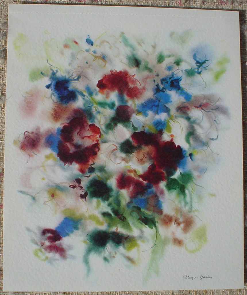 """Red Flowers On Blue"" by Klaus Meyer Gasters, shown with full margins - vintage 1977 offset lithograph reproduction watercolour collectible fine art print (size 12.5 x 10.75 inches/31.75 x 27 cm) - KerrisdaleGallery.com"