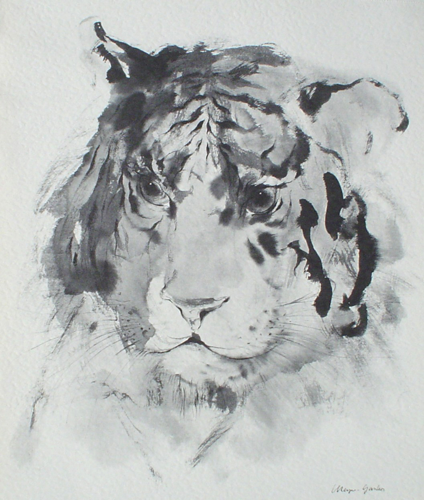 """Tiger Head"" by Klaus Meyer Gasters - vintage 1977 offset lithograph reproduction watercolour collectible fine art print (size 12.5 x 10.75 inches/31.75 x 27 cm) - KerrisdaleGallery.com"