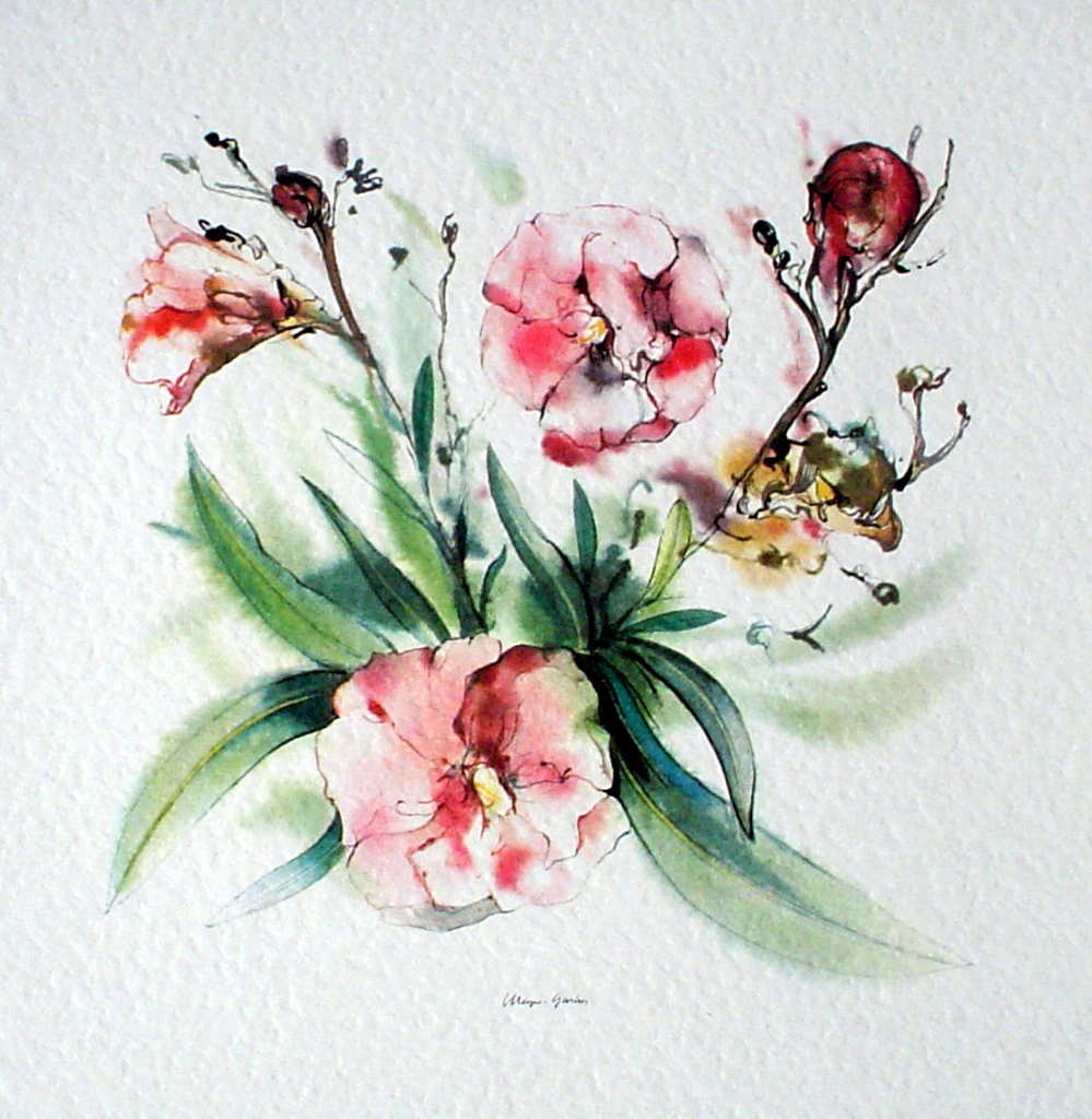 """Red Flowers, Yellow Stamen"" by Klaus Meyer Gasters - vintage offset lithograph reproduction watercolour collectible art print from 1981 (size 12 x 11.5 inches/30.5 x 29.25 cm) - KerrisdaleGallery.com"
